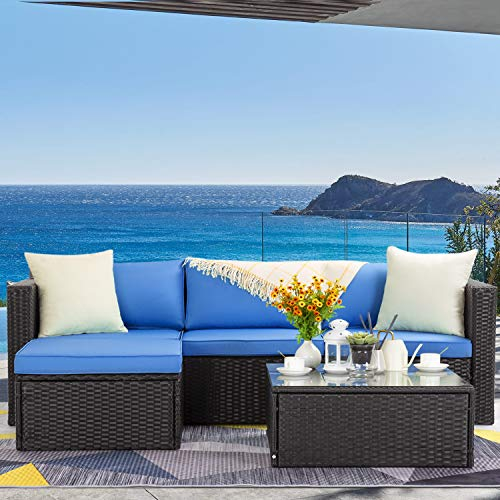 LEMBERI 5 Pieces Outdoor Furniture Patio Conversation Sets, All Weather Wicker Sectional Sofa Couch Lawn Sectional Furniture with Washable Couch Cushions and Glass Table(Dark Blue/Black)