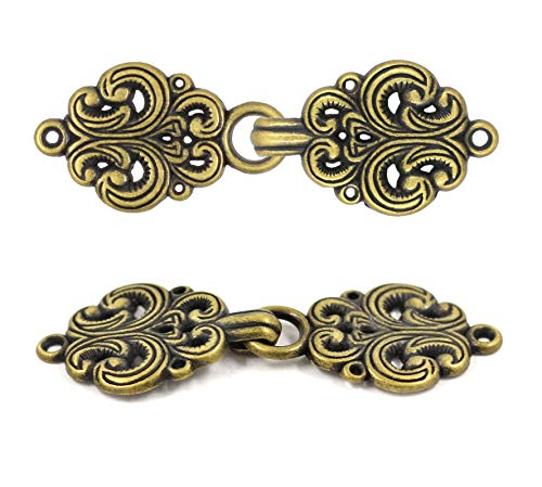 Bezelry 6 Pairs Rococo Swirl Flower Cape or Cloak Clasp Fasteners. Sew On Hooks and Eyes Cardigan Clip. 65mm Fastened. (Antique Brass)