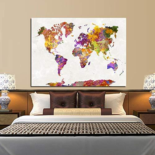 Wandkunst Ölgemälde Karte Aquarell abstrakte dekorative Malerei, Wohnzimmer Hauptdekoration,Rahmenlose Malerei,50X67cm