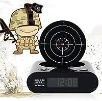 シューティング 目覚まし時計 ピストル 型目覚まし時計 ガン アラーム クロック 録音機能搭載  時計玩具 ゲーム 感覚 で 寝坊 防止 (黒い)