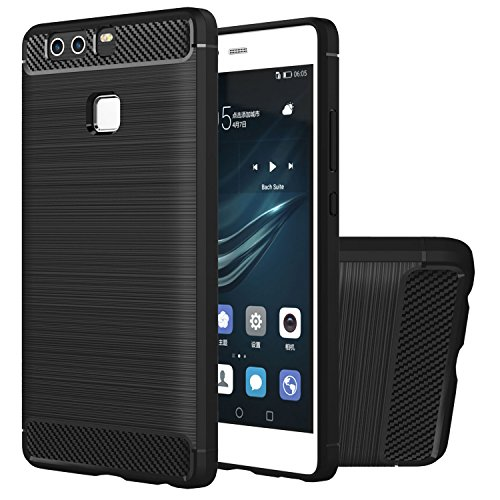Custodia Huawei P9 Plus, HICASER Flessibile Resistenza Durevole Anti-Slip TPU Armatura Case Shock-Assorbente Protettiva per Huawei P9 Plus Nero