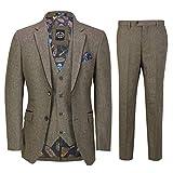 Hombres De Tan Vintage Tweed Espiga 3 Piezas Traje De Gamuza Recorte Retro Peaky Anteojeras Elegante A Medida [SUIT-X6058-4-TAN-48UK]
