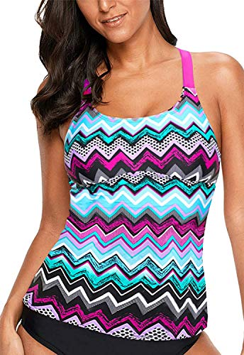 HOTAPEI Women's Floral Printed Padded Wide Strap Tankini Swim Top Swimsuit Swimwear No Bottom Purple Medium 8 10