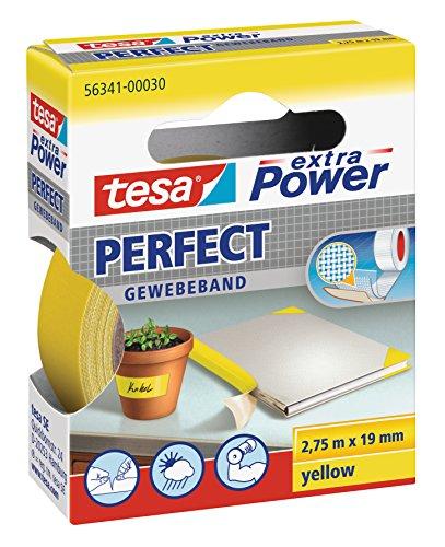 tesa extra Power Perfect Gewebeband - Gewebeverstärktes Ductape zum Basteln, Reparieren, Befestigen, Verstärken und Beschriften - Gelb - 2,75 m x 19 mm