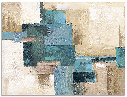 Artland Küchenrückwand Glas mit Motiv Spritzschutz Küche 80x60 cm abstrakt Kunst Malerei modern Karo Muster türkis beige S7HX