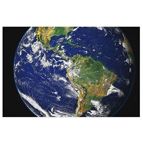 Fußmatte mit strapazierfähiger, rutschfester PVC-Rückseite, Erdblau, Planet Globus Welt, Welcome-Matte, ideal für den Innen- und Außenbereich, 60 x 40 cm