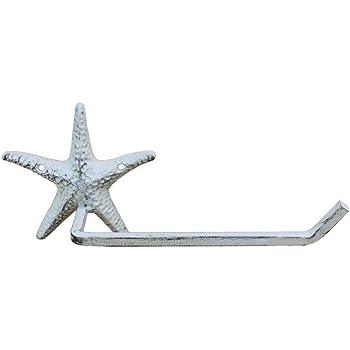 Whitewashed Hampton Nautical Decorative Cast Iron Starfish Wall Hook
