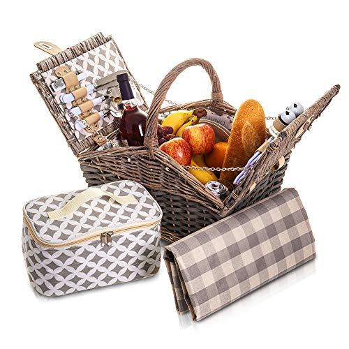 LIVIVO 4 Person Grey Willow Wicker Picnic Hamper Basket 29 Piece Set Cloth...