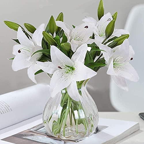 Flores Artificiales, 5 Piezas de Lirios Artificiales con 4 capullos, Plantas Flores Artes Flores Artificiales de látex de Plena floración con Tacto Real para decoración del hogar Bodas Fiestas