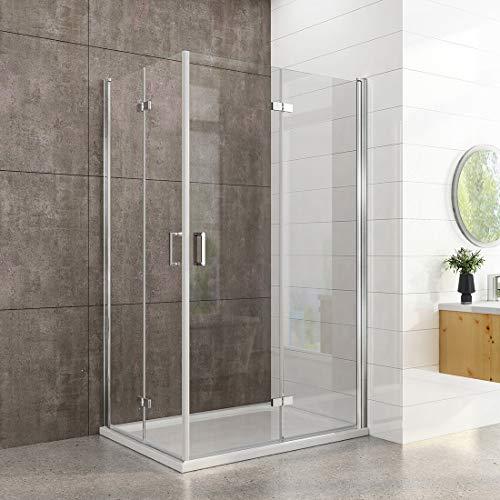 welmax Duschkabine 80x100cm Duschabtrennung Doppelt Falttür Rahmenlos Duschtür Duschtrennwand aus 6mm ESG Sicherheitsglas mit beidseitiger Nano Beschichtung Höhe 195cm