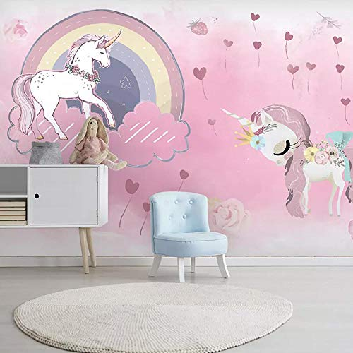 Carta Da Parati Adesiva Muro Quadri Moderni Soggiorno Xxl Poster 3D Damascata Rosa Ragazza Unicorno Camera Dei Bambini Carta Da Parati Arcobaleno Cielo Stellato Sfondo Muro Dipinto Paradiso Dei Bambi
