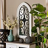 Unknown1 Vintage White Wood and Black Metal Arched Accent Wall Mirror