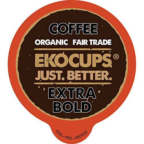 EKOCUPS Artisan Organic Bold Hot or Iced Coffee, Dark roast, in Recyclable Single Serve Cups for Keurig K-cup Brewers, 40 count