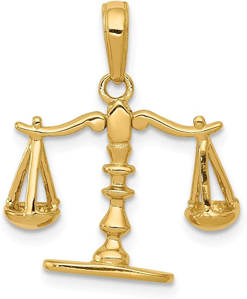 14k Translated 3-D Excellent Moveable Scales of Justice style Pendant C3122 20mm