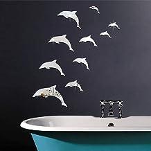 HAOYUMEI Dolphin Combination 3D Acrylic Mirror Wall Stickers DIY Art Decal Murales De Pared Decoración para El Hogar Dormitorio Living Decoration Wallpaper 10 Piezas 1 Juego,Plata