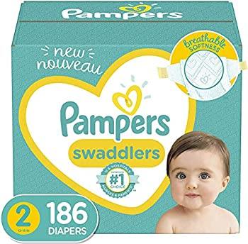 Baby Diapers Size 2 186 Count - Pampers Swaddlers ONE MONTH SUPPLY  Packaging and Prints on Diapers May Vary