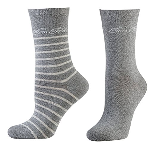 TOM TAILOR Damen Socken 2er-Pack Stribes 9880 / Women Socks 2pack (35-38, 150 Grey melange)