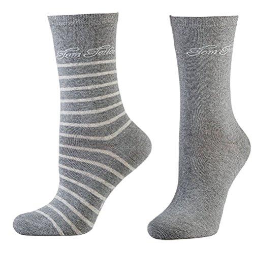 Tom Tailor 2er Pack Stripe Women Socks 9880 grau melange Doppelpack Strümpfe Socken Streifen-design + uni, Größe:39-42