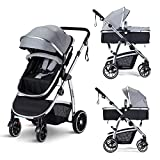 HAGADAY Baby Stroller, Infant Stroller with Reversible Seat, Newborn Stroller with Canopy,Baby Bassinet Stroller(Grey)