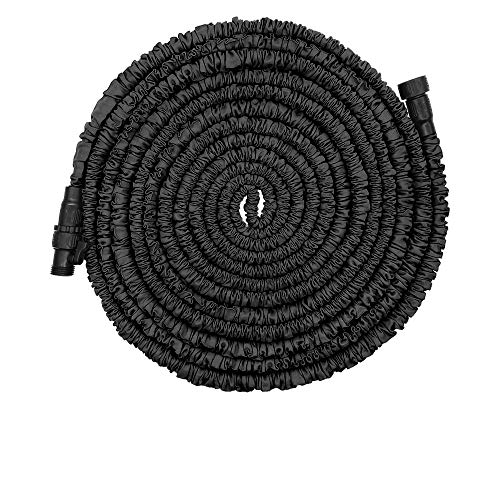 POYINRO Expandable Garden Hose, 50ft Strongest Expanding Garden Hose with Triple Layer Latex Core & Latest Improved Extra Strength Fabric Protection for All Your Watering Needs Improved Design(Black)