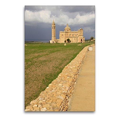 CALVENDO Premium Textil-Leinwand 60 x 90 cm Hoch-Format TA' Pinu National Shrine, Gozo, Leinwanddruck von flybluehigh