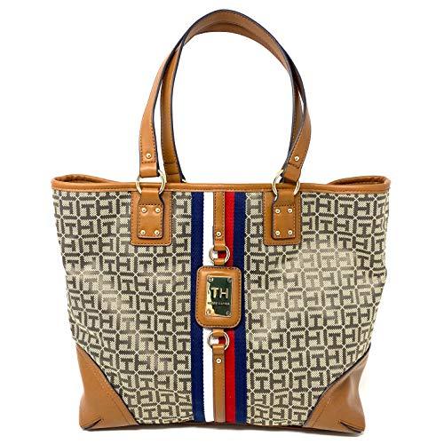 Tommy Hilfiger Tasche - Beige/Braun *Tote* Shoppertasche - Henkeltasche - TH Logo - 40x30x12cm - Damentasche 1103