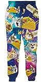 Loveternal Pantaloni Sportivi per Uomo Pizza Gatto Joggers Divertenti Pizza Cat Pantaloni da Allenamento per Teenager M