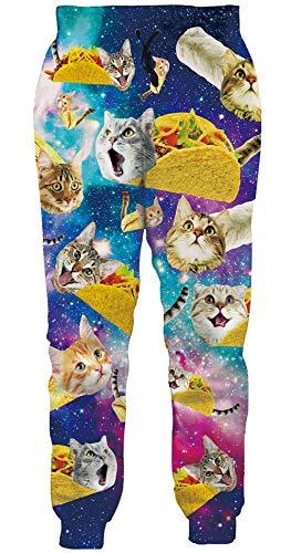 Loveternal Jogginghose Herren 3D Hose Pizza Katze Hosen Lustige Jogger Cat Sport Pants Casual Baggy Sweatpants S