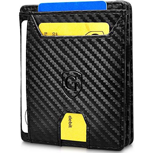 GenTo® Monaco Magic Wallet das Original - TÜV geprüfter Schutz - Dünne Geldbörse ohne Münzfach - Smarter Geldbeutel - Slim Portemonnaie - Geschenk für Herren mit Geschenkbox (Carbon)