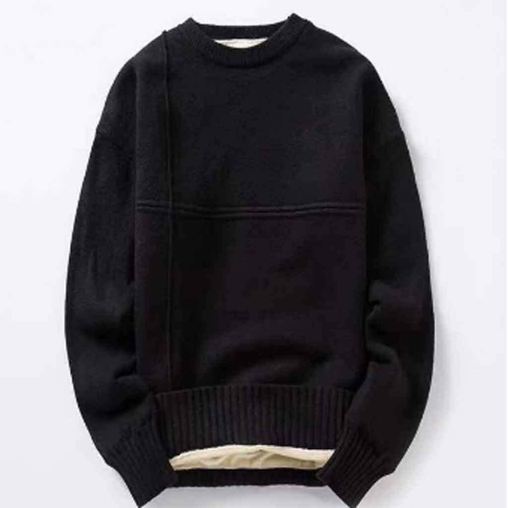 ZYING Cotton Knitted Sweater Men Autumn Winter Fashion Solid Wool Liner Pullovers Mens Neck Thick Oversized Sweaters (Color : M Code)