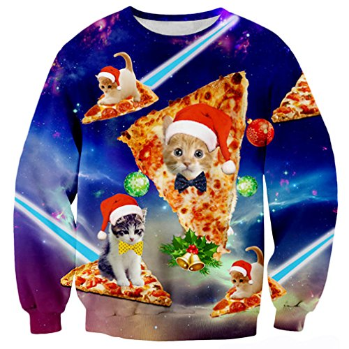 RAISEVERN Unisex Ugly Christmas Cat Pizza Print Crewneck Long Sleeve Pullover Sweatshirt Clothes For Women Men, 2017 Style Christmas Cat 1, Small