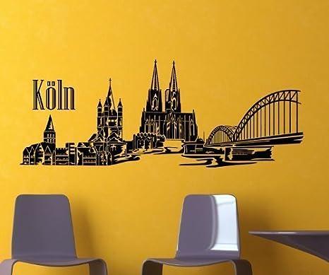 Wandaufkleber Köln Skyline Wandsticker mit Stadion   25 Farben 8 Größen