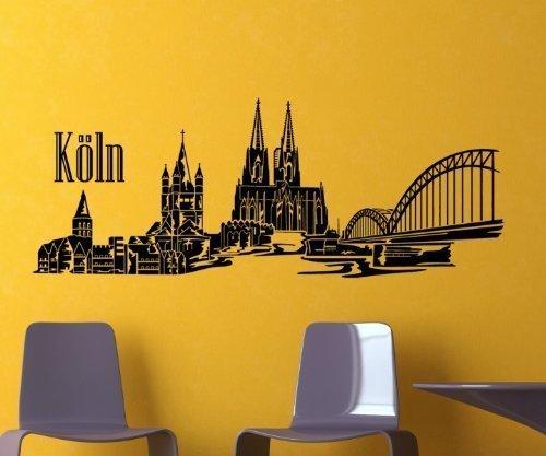 myDruck-Store Wandtattoo Köln - Kölner Dom Skyline XXL Deutschland Wand Aufkleber Stadt 1M134, Farbe:Schwarz Matt;Größe (Länge):100 cm