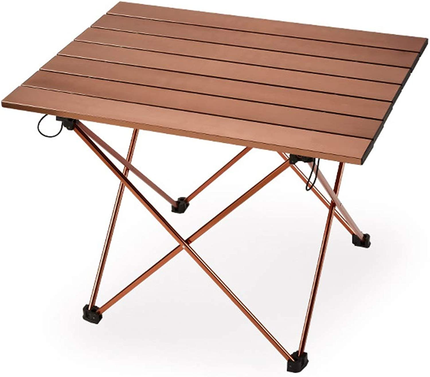 AA Outdoor Folding Picnic Table, Super Light Portable Aviation Aluminum Alloy Casual Camping Table Home (color   Champagne)