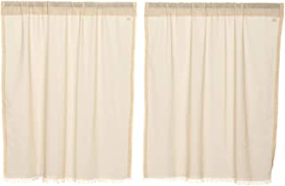 VHC Brands Tobacco Cloth Fringed Curtain Panel Pair, L36 x W36, Natural