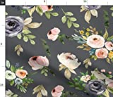 Spoonflower Fabric - Gray Floral Blooms Watercolor Flowers Leaf Bloom Baby Girl Roses Printed on Minky Fabric by The Yard - Sewing Baby Blankets Quilt Backing Plush Toys