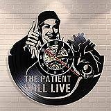 ZZNN Reloj de Pared de Vinilo El Paciente permanecerá en el Hospital Oferta Arte de Pared médico Clínica Decoración de Pared de Oficina Reloj de Pared médico Reloj de Vinilo de Enfermera Vintage