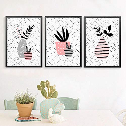 Muurdecoratie Vaas met Succulente Plant Wall Art Prints Poster, Pot Plants Wall Art Canvas Schilderij Home Decor 50x70cmx3 geen Frame