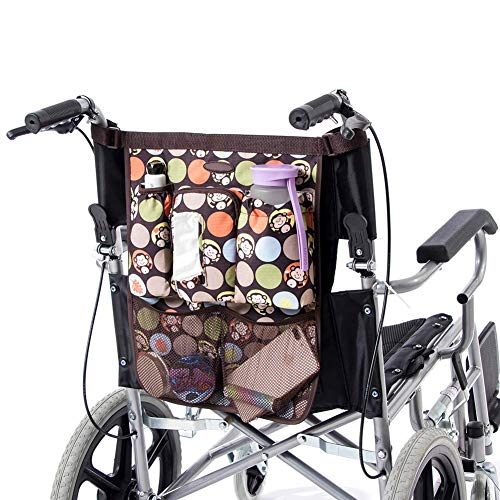 HNYG Wheelchair Backpack Pouch for Loose Itmes Provides Hands Free, Durable Wheelchair Bag, Frame Walker Pouch, Mobility Scooter Storage Tote Bag (2#)