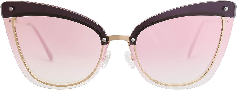 MAREINE Cateye Sunglasses Gradient Brown & Pink Lens gold Frame