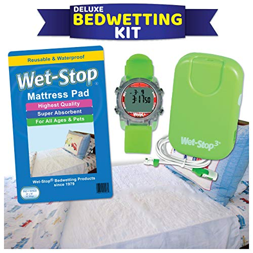Deluxe Bedwetting Kit-Wet Stop Bedwetting Alarm, WobL + Waterproof Watch, Waterproof Mattress Pad