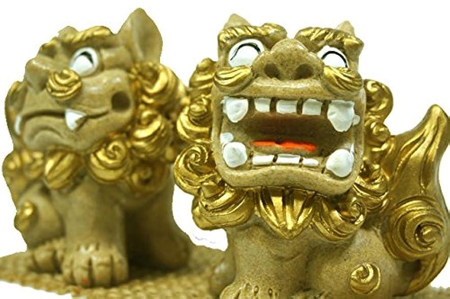 散文シリアル羊飼いおっきな笑顔で楽 シーサー (金色) 高さ8cm×横7.5cm×奥行き5cm