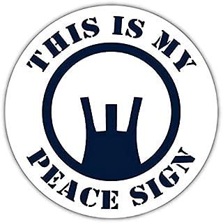 This is My Peace Sign Gun Sights Navy Blue Pro-Gun Pro Military Vinyl Bumper Sticker Decal