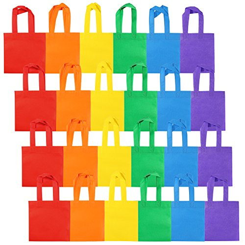 Aneco 24 Pack Non-woven Party Bags Treat Tote Bags with Handles Rainbow Color Party Favors Bag 8 by 8 Inches, 6 Colors