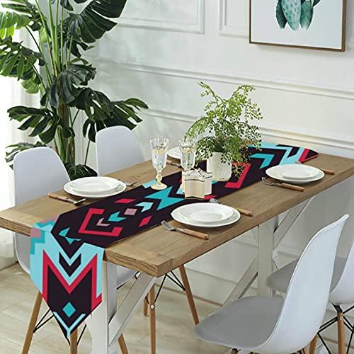Reebos Camino de mesa de lino para aparador, corredores de mesa de cocina azteca navajo del suroeste americano para cenas de granja, fiestas de vacaciones, bodas, eventos, decoración, 33 x 70 pulgadas