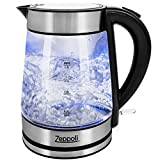Zeppoli Electric Kettle - Glass Tea Kettle (1.7L) Fast Boiling and Cordless, Stainless Steel Finish...