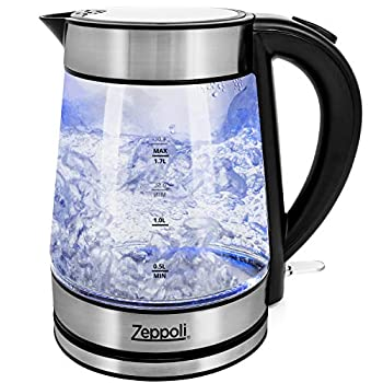 Zeppoli Electric Kettle - Glass Tea Kettle & Hot Water Boiler - Auto Shutoff  1.7L  & Boil-Dry Protection- Cordless with LED Indicator