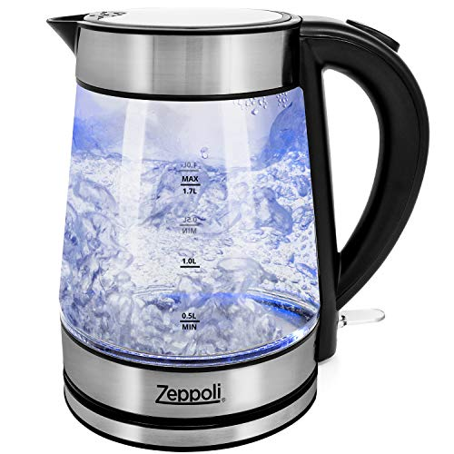 Zeppoli Electric Kettle – Glass Tea Kettle & Hot Water Boiler – Auto Shutoff (1.7L) & Boil-Dry Protection- Cordless with LED Indicator