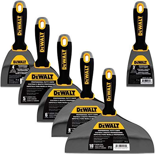 DEWALT DXTT-3-149 Spachtelmesser-Set aus Karbonstahl, 10,2 cm, 15,2 cm, 25,4 cm + 7,6 cm, weiche Griffe