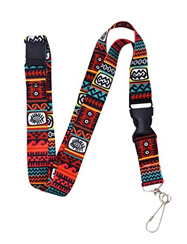 Wayfinder Red Tribal Premium Lanyard with Breakaway Clasp and Snap Buckle by Limeloot